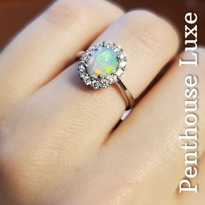 REAL Natural Opal Oval 925 Sterling Silver Ring